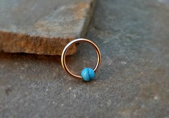 Gold Cartilage Earring with Turquoise Bead Captive Hoop Body Jewelry 16ga Helix