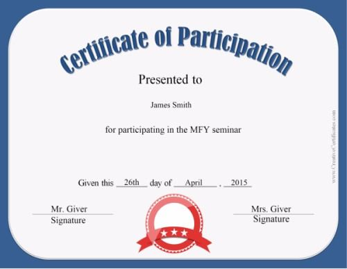Certificate Of Participation In A Workshop Template Certificate - printable certificate of participation