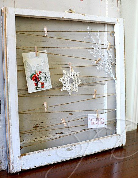 Sunnybrook Farm Designs - old window into postcard or photo holder - via Remodelaholic