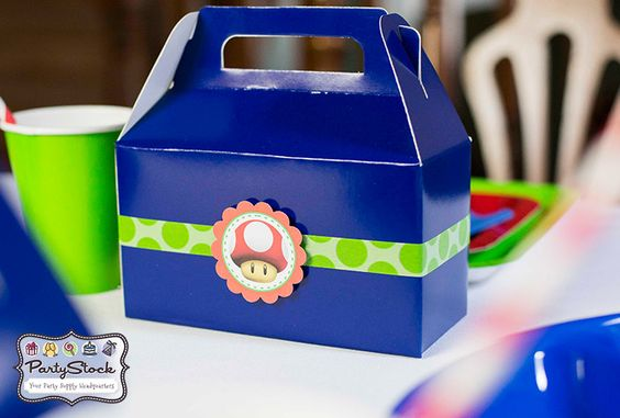 Super Mario Themed Birthday Partygable treat box decorated with