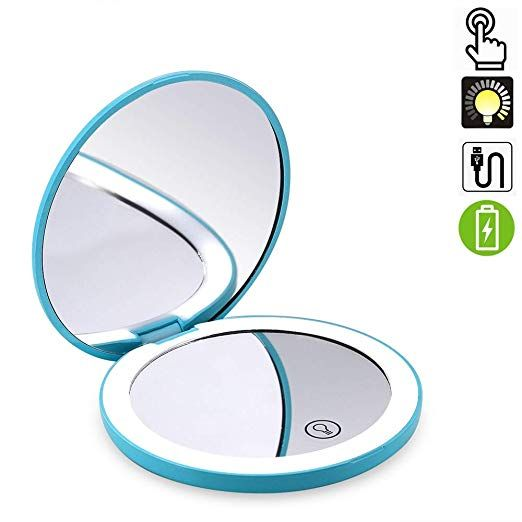 Amazon Com Travel Lighted Makeup Mirror 7x 1x Magnification Compact Vanity Mirror With Lights U Makeup Mirror With Lights Handheld Mirror Led Makeup Mirror
