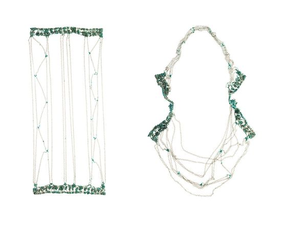 Liana Pattihis  Necklace: Splendour in the grass, Panel, 2013  Silver Cable Chain, Enamel  23cm x 52cm, L150cm: