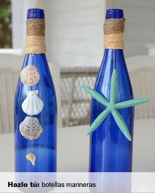 Botellas decoradas inspirándose en la mar.