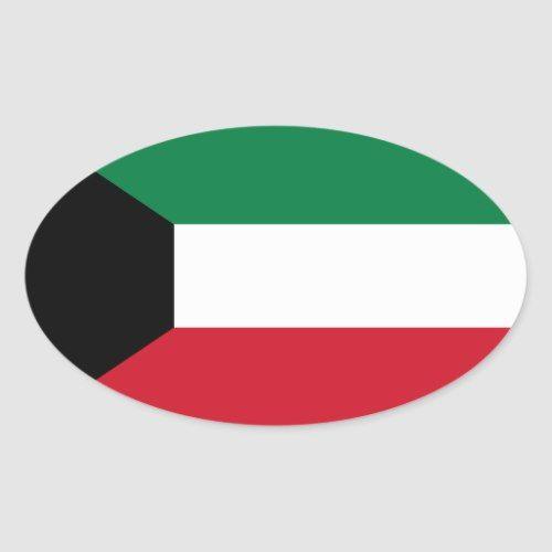 Kuwait Flag Oval Sticker Zazzle Com Kuwait Flag Print Stickers Flag