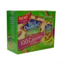 Blue Diamond Almonds 100 Calories Per Bag : 32 Grab and Go Bags