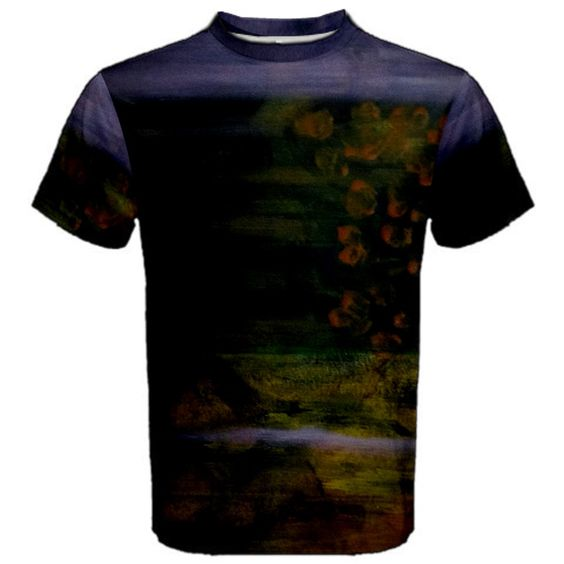 All appleartcom's products are from the original paintings of the artist/designer Jocelyn Apple. Kindly see: (www.facebook.com/appleartcom)    (www.cowcow.com/appleartcom). The Plight Men's Sport Mesh Tee by Jocelyn Apple/Appleartcom.  Walk in style with uniquely designed t-shirt just for you!