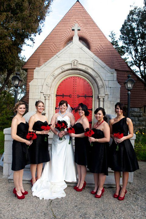 Bride  White, Bridal Party in Black :  wedding black and white bridal party Bridesmaids Black Red: