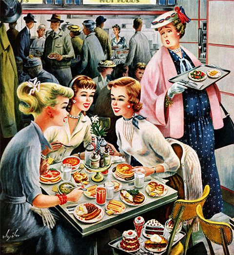 Cafeteria Dieter, art by Constantin Alajalov. Detail from cover of November 10, 1956 Saturday Evening Post.: