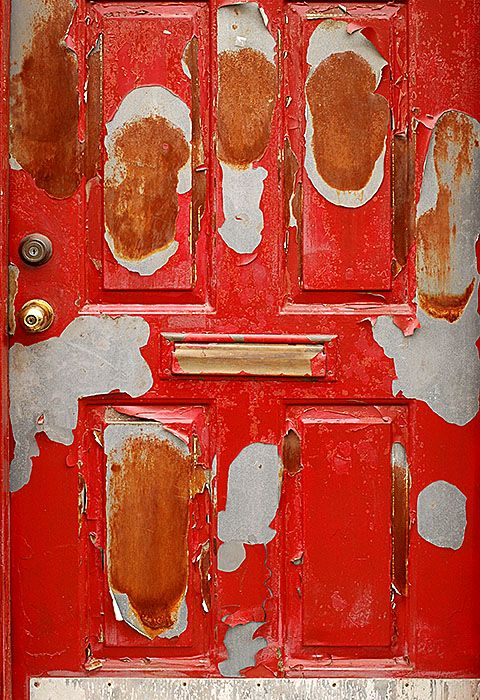 Red Door, 2007, photo by Fred HattPaint peels, steel rusts,Erosion is the emblem of my shield.