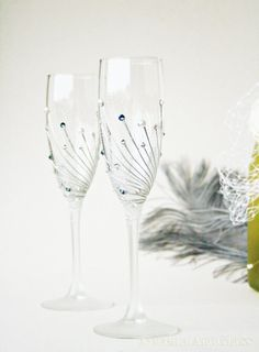 Wedding Glasses, Champagne Glasses, Toasting Glasses, HAND PAINTED, Pearls and Crystals, Denim and Silver, set of 2 on Etsy, $60.00