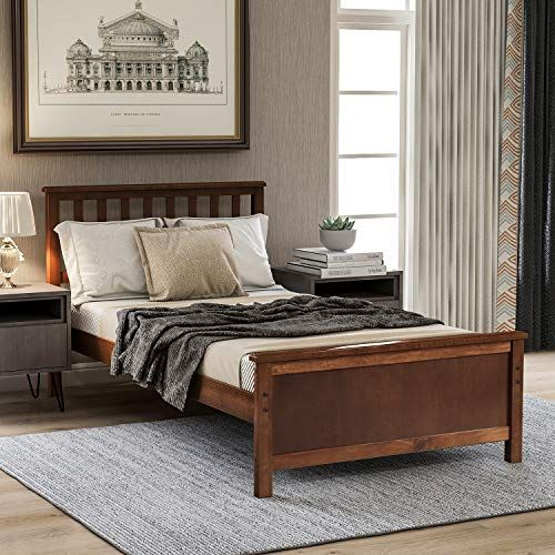 Amazon Com Twin Bed Frame Wood Platform Bed With Headboard And Footboard No Box Spring Need Twin Bed Frame Wood Platform Bed Twin Bed Frame Wood Twin bed frame with headboard and footboard