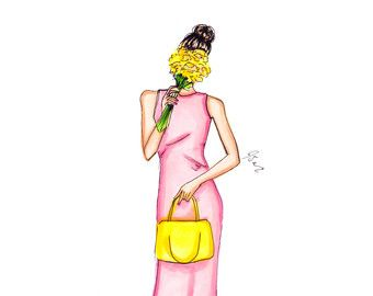 "More illustrations LINE BOTWIN ""girly illustrations "" #chic #fashion #girly #illustration Vanity by Melsys on Etsy"