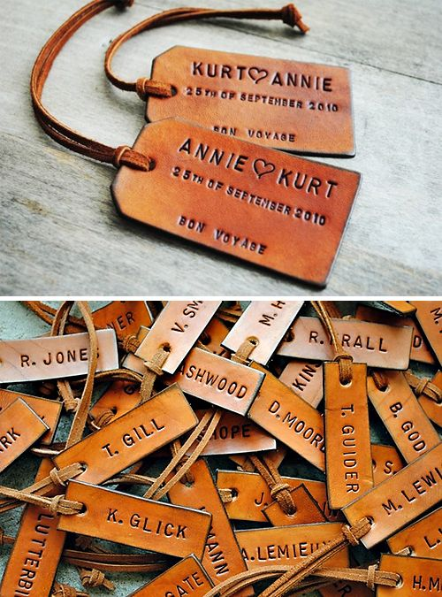 personalized leather luggage tags. a great & useful wedding favor for your friends and family!-FunctionMania-Unique Wedding Favours Your Guests Will Definitely Love!
