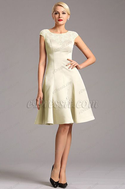USD 79.99] Elegant Beige Capped Sleeves Party Dress Cocktail Dress ...