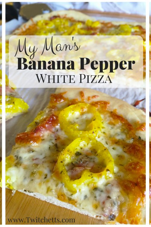 This homemade banana pepper pizza is a quick and easy dinner recipe. This spicy pizza is a fun variation of a traditional white pizza!