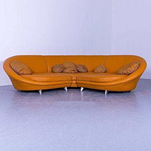 Bretz Pool Designer Leder Ecksofa Orange Viersitzer Couch Echtleder 5614