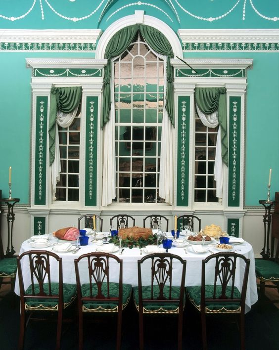"""As a respite from his cares on the battlefield, George Washington planned out the delicate classical details of his Robert Adam-inspired """"new"""" dining room at Mount Vernon, by far the house's grandest room--and one of America's most beautiful."""