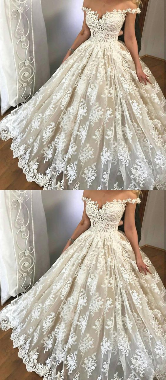 unique off the shoulder wedding dresses, glamorous wedding gowns with appliques, elegant light champagne lace bridal dresses