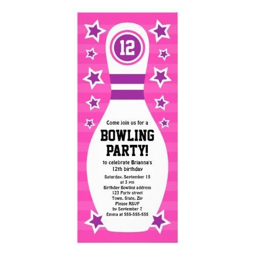 Bowling pin birthday party invitation with stars Bowling, Party - bowling flyer template free