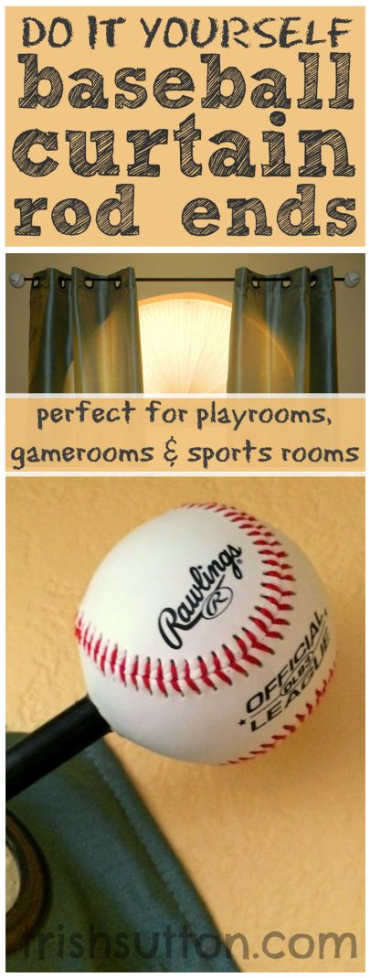 DIY Baseball Curtain Rod Ends are the perfect touch for sports theme bedrooms, playrooms, game rooms and sports rooms! A simple project by TrishSutton.com.