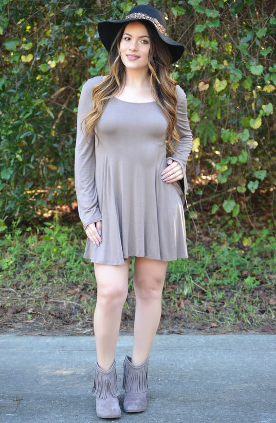 Click to shop - free shipping over $50!  Home Sweet Home Dress - Mocha – Worn & Raised