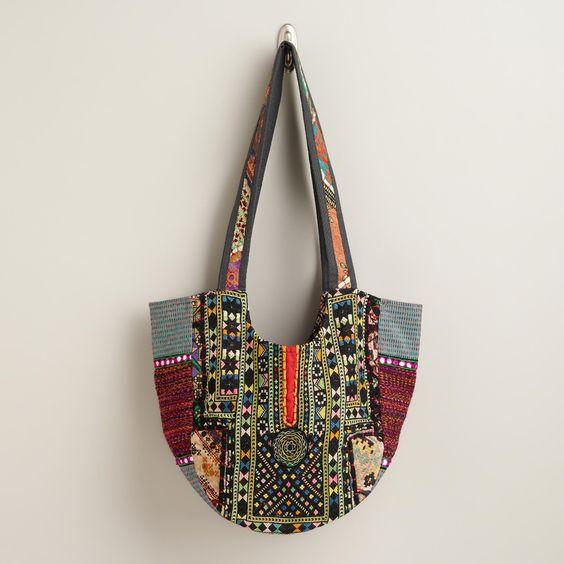 Multicolored Antique Patchwork Tote Bag | World Market