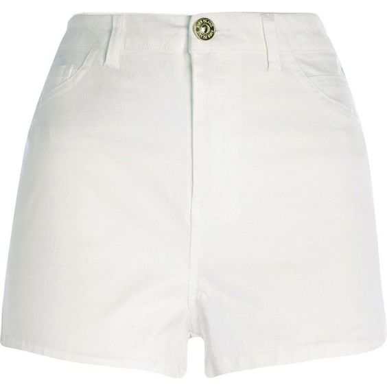 River Island White high waisted denim shorts ($40) ❤ liked on ...
