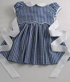 Blue and White Gingham Dress for A Little Girl