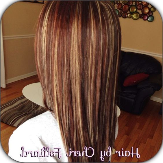 caramel and red highlights in dark brown hair google