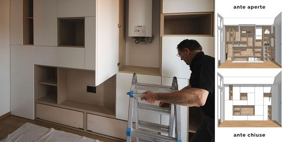 Un mobile jolly per una stanza jolly. Disegnato e realizzato su misura. Un mobile da livingcon nicchiatv che e' anche un armadio. Design artigianale.