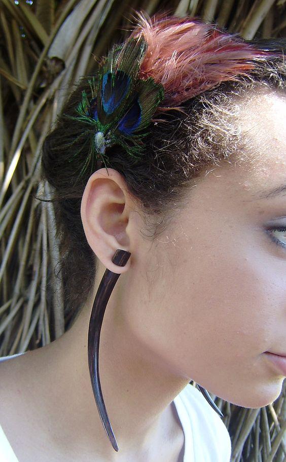 Wood Organic Fake Gauges Earrings Tribal Expander Split  XL. $14.99, via Etsy.