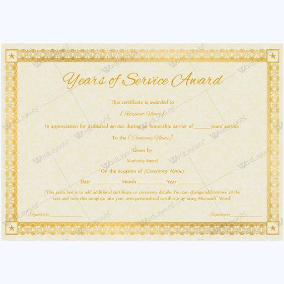 Certificate Of Years Of Service Award #award #awardcertificate - certificate of appreciation wordings
