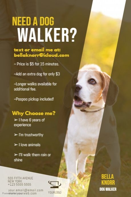 Copy Of Dog Walker Flyer Template Dog Walker Flyer Dog Walking