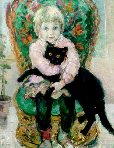 Frida Holleman (Holanda, 1908-1999) - A girl with a black cat - oil on panel
