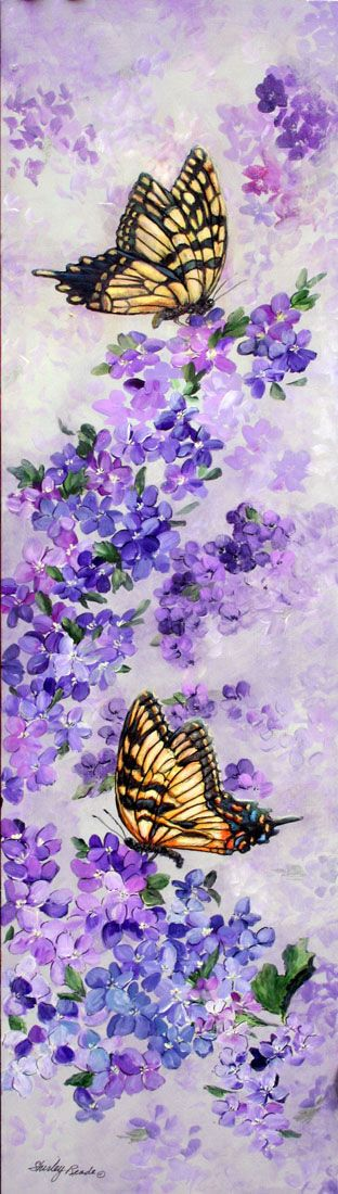 Watercolor Paintings of Butterflies | Butterflies and Lilacs painting: