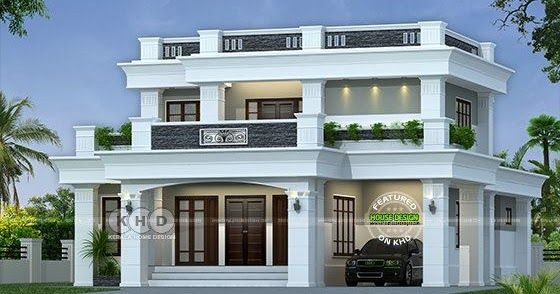 40 Lakhs Cost Estimated Decorative Flat Roof Home Kerela