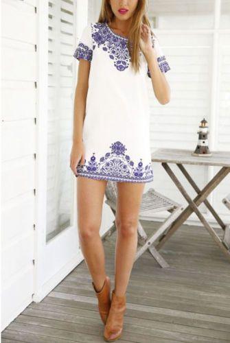Neu Damen weiß und blau Porzellan Kurzarm Top Drucken Kleid Größe 30-36 in Kleidung & Accessoires, Damenmode, Kleider | eBay