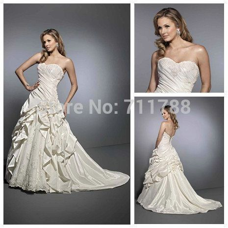Find More Wedding Dresses Information about Unique Design Open Back Lace and Satin A Line Wedding Dresses 2014 Sweetheart Flower Lace Up Bridal Gowns Custom Made vmw00048,High Quality Wedding Dresses from Vivid Marts Co Ltd on Aliexpress.com