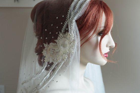 Silk Wedding Veil   Perle  1 qty Ready to ship by EnrichbyMillie, $439.00
