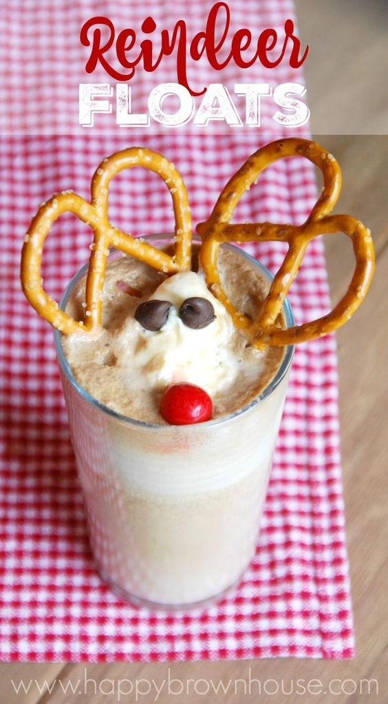 Reindeer Floats--how adorable and easy! Perfect snack for watching Rudolph with the family. Going to make these for Christmas!