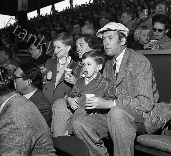 Jimmy Stewart & Family at Baseball Game 1954 | Frank Worth ...