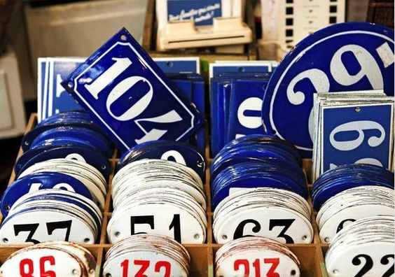 A box full of vintage house number signs #Numbers #Vintage #Retro