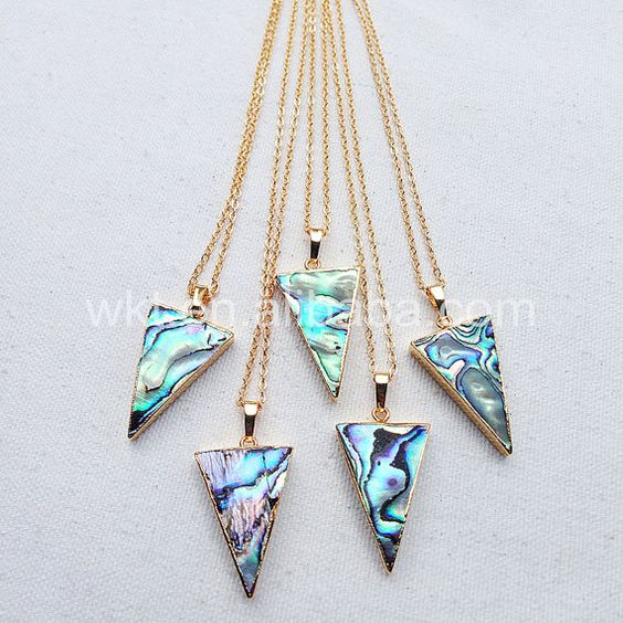 WT-N660 Sparkly natürliche Abalone Muschel Dreieck Anhänger, Mode echtem gold…