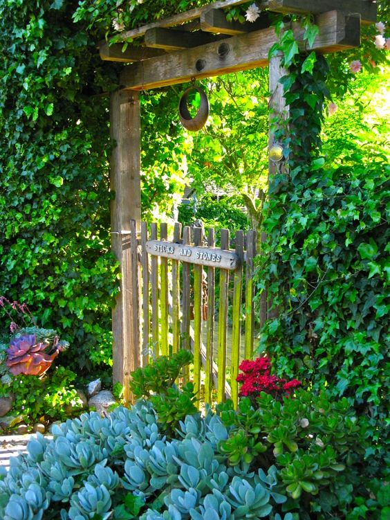 Entrance to the sticks n stones cottage garden for Sticks and stones landscaping