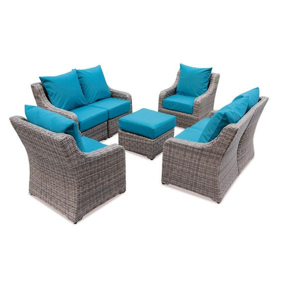 AE Outdoor Cherry Hill 7-Piece Patio Deep Seating Set with Spectrum Peacock Cushions