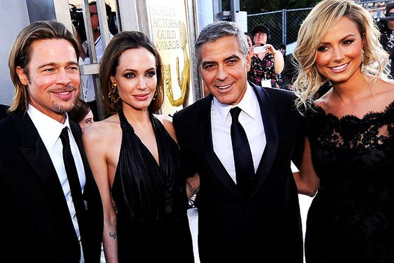 Brad Pitt, Angelina Jolie, George Clooney and Stacy Keibler at the SAG Awards 2012