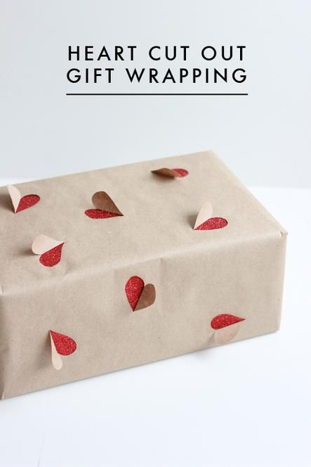Heart cut out gift wrapping