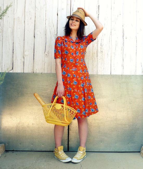 yellow tshirt dress 50s
