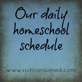 Our daily homeschool schedule. Includes a look at our subjects grid and how we get it all done.  www.notconsumed.com