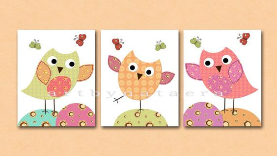 Owls Kids Wall Art Baby Girl Room Decor Nursery prints